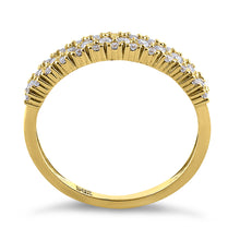 Load image into Gallery viewer, Solid 14K Yellow Gold Cluster Round Cut CZ Ring