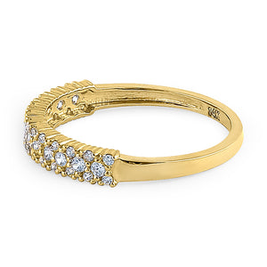 Solid 14K Yellow Gold Cluster Round Cut CZ Ring