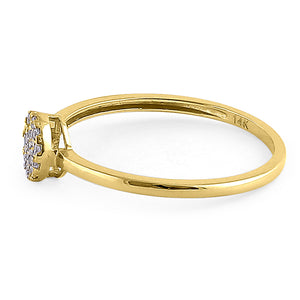 Solid 14K Yellow Gold Round Cluster CZ Ring