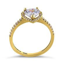 Load image into Gallery viewer, Solid 14K Yellow Gold Heart Cut Halo CZ Ring