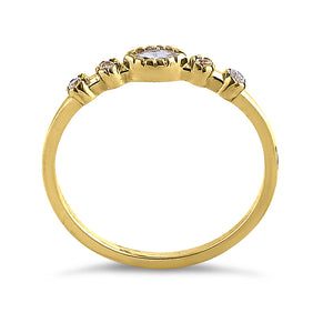 Solid 14K Yellow Gold Marquise Cut Simple CZ Ring