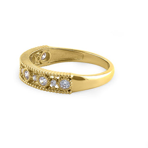 Solid 14K Yellow Gold Alternating Round Cut CZ Ring
