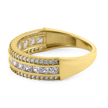 Load image into Gallery viewer, Solid 14K Yellow Gold Channel Princess Cut CZ Ring
