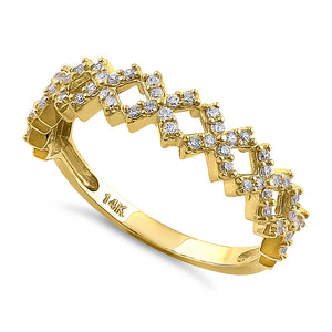 Solid 14K Yellow Gold Xs CZ Ring