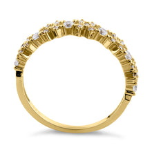 Load image into Gallery viewer, Solid 14K Yellow Gold Xs and Os CZ Ring