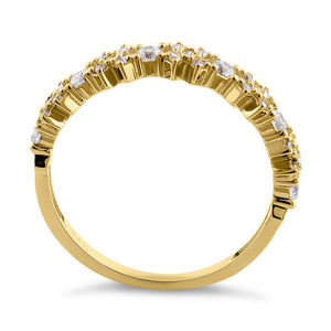 Solid 14K Yellow Gold Xs and Os CZ Ring