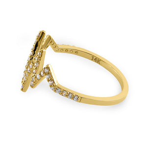 Solid 14K Yellow Gold Heartbeat CZ Ring