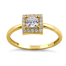 Load image into Gallery viewer, Solid 14K Yellow Gold Princess Cut Halo CZ Engagement Ring