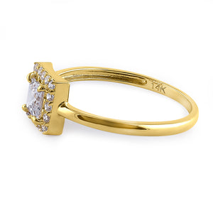 Solid 14K Yellow Gold Princess Cut Halo CZ Engagement Ring