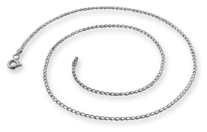 Rhodium Sterling Silver Long Curb Chain 1.4mm