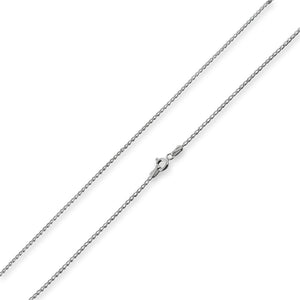 Rhodium Sterling Silver Long Curb Chain 1.2mm