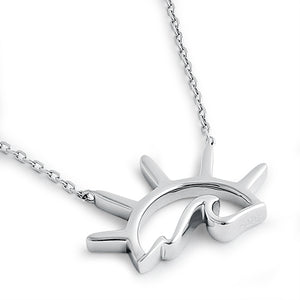 Sterling Silver Sun Wave Necklace