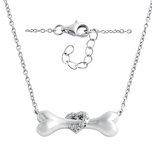 Sterling Silver Dog Bone Clear Heart CZ Necklace