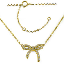 Load image into Gallery viewer, Solid 14K Yellow Gold Bow Diamond Necklace