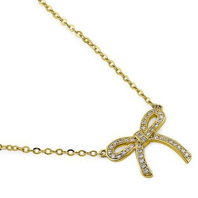 Solid 14K Yellow Gold Bow Diamond Necklace