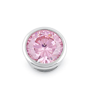 Sterling Silver Round Pink CZ Pendant
