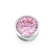 Load image into Gallery viewer, Sterling Silver Round Pink CZ Pendant