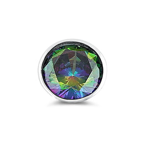 Sterling Silver Round Rainbow Topaz CZ Pendant