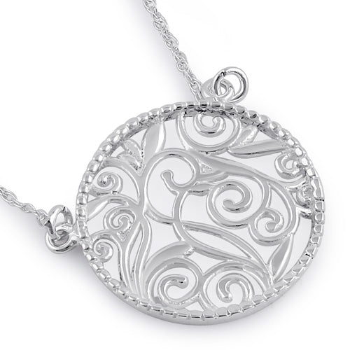 Sterling Silver Circle Fiigree Necklace