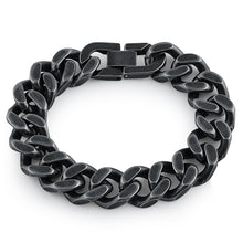 Load image into Gallery viewer, Black Stainless Steel Thick Curb Bracelet