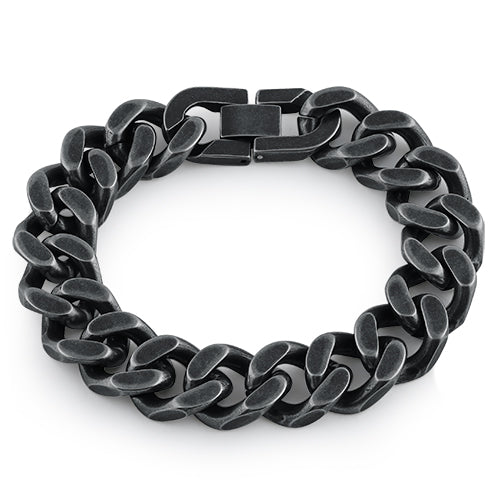 Black Stainless Steel Thick Curb Bracelet