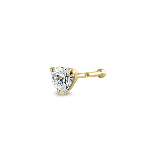Solid 14K Yellow Gold Heart CZ Nose Stud