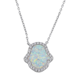 Sterling Silver Clear CZ and White Opal Hamsa Necklace