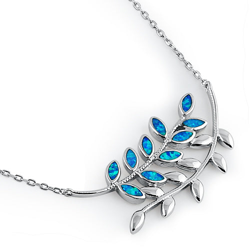 Serling Silver Blue Opal Trendy Leaf Necklace
