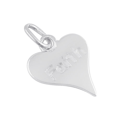 Sterling Silver Faith Heart Pendant