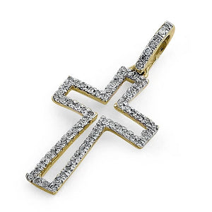 Solid 14K Yellow Gold Cross 0.15 ct. Diamond Pendant