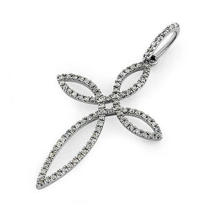 Solid 14K White Gold Petal Shape Cross 0.25 ct. Diamond Pendant