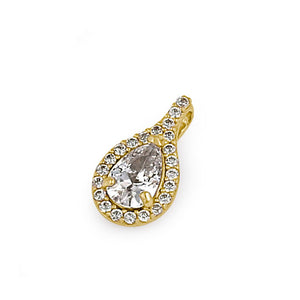 Solid 14K Gold Clear CZ Halo Drop Pendant