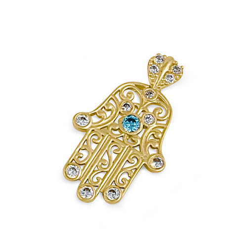 Solid 14K Gold Turquoise and Clear CZ Hamsa Pendant