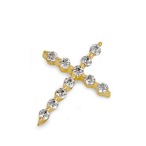 Solid 14K Gold Clear CZ Cross Pendant