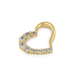 Solid 14K Gold Clear CZ Heart Pendant