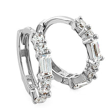 Load image into Gallery viewer, Solid 14K White Gold Round & Baguette Straight CZ Hoop Earrings