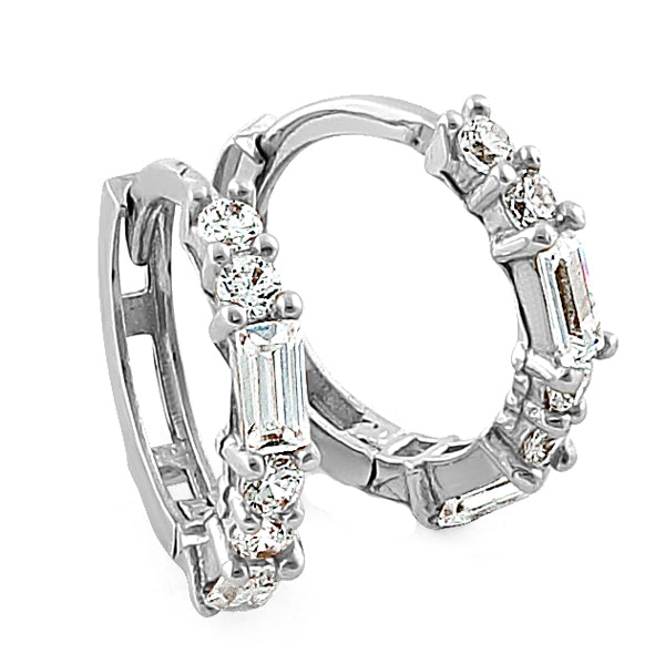 Solid 14K White Gold Round & Baguette Straight CZ Hoop Earrings