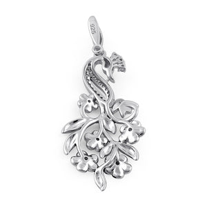Sterling Silver Hand-Painted Swan and Flowers CZ Pendant
