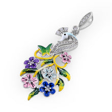 Load image into Gallery viewer, Sterling Silver Hand-Painted Swan and Flowers CZ Pendant
