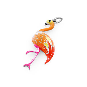 Sterling Silver Hand-Painted Sunrise Flamingo Pendant