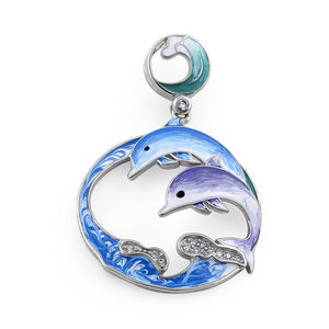 Sterling Silver Hand-Painted Twin Dolphin CZ Pendant