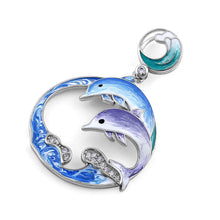 Load image into Gallery viewer, Sterling Silver Hand-Painted Twin Dolphin CZ Pendant