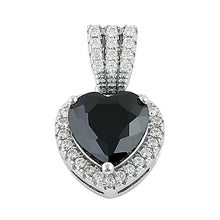 Load image into Gallery viewer, Sterling Silver Black Big Heart CZ Pendant