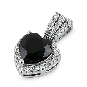 Sterling Silver Black Big Heart CZ Pendant