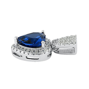 Sterling Silver Blue Spinel Big Heart CZ Pendant