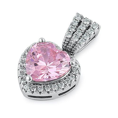 Sterling Silver Pink Big Heart CZ Pendant