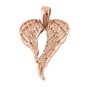 Sterling Silver Rose Gold Plated Fallen Angel Wings Pendant
