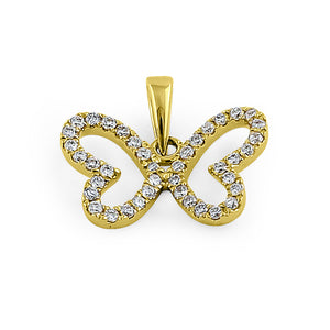 Solid 14K Yellow Gold Butterfly Diamond Pendant