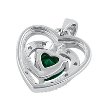 Load image into Gallery viewer, Sterling Silver Precious Heart Emerald CZ Pendant