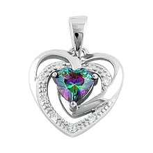 Load image into Gallery viewer, Sterling Silver Precious Heart Rainbow Topaz CZ Pendant